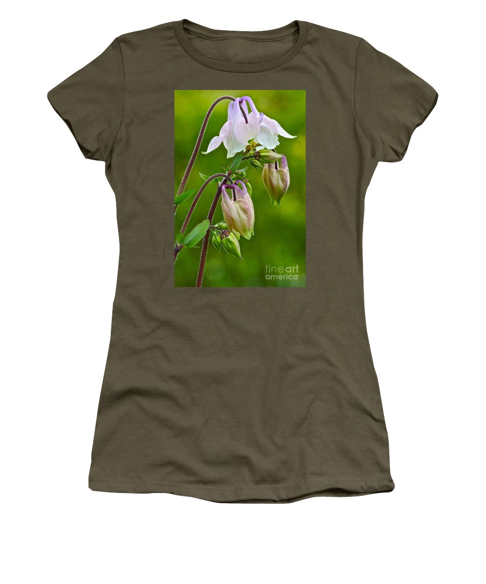 Graceful Columbines Women's T-Shirt featuring the photograph Tiny Floral Swans And Cygnets by Byron Varvarigos