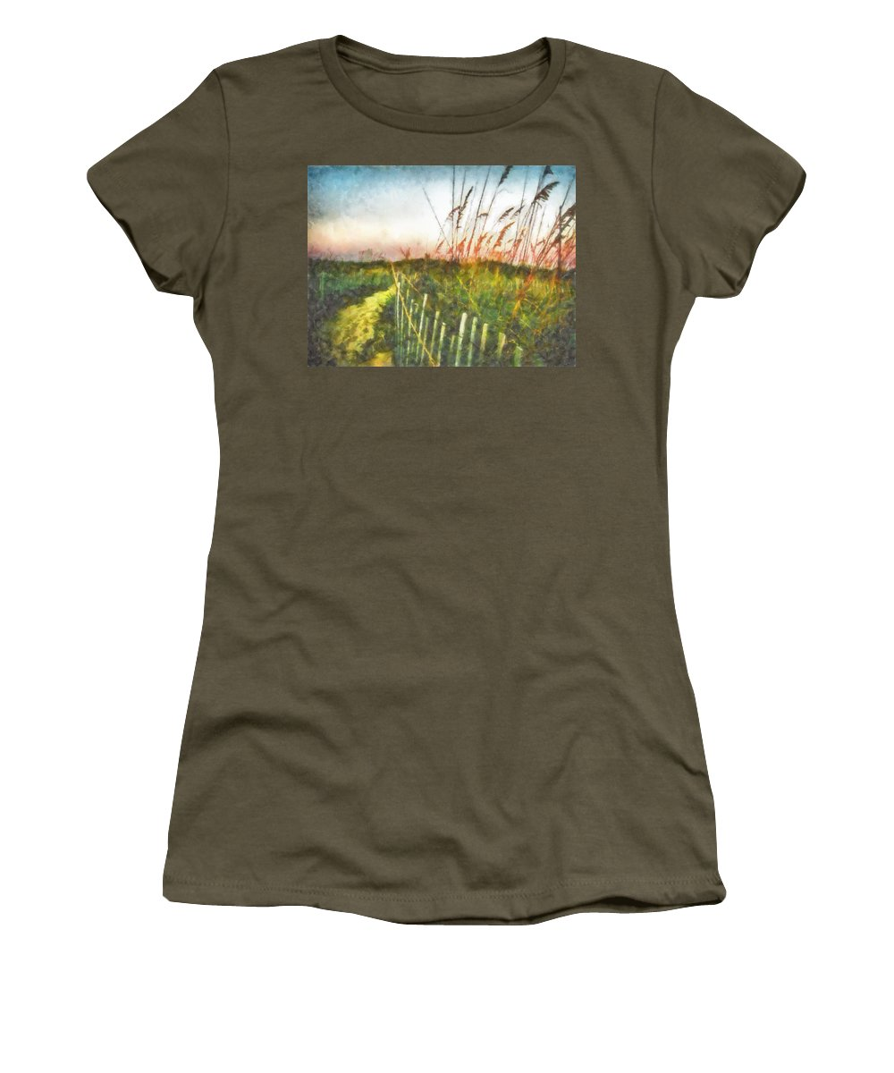 Sea Oats Women's T-Shirt (Athletic Fit) featuring the painting To The Sea by Lynne Jenkins