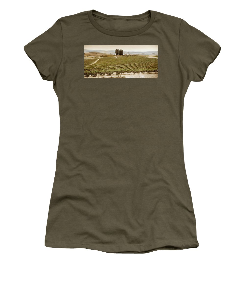 Tuscan; Italian Landscape; Rural; ; Vines; Wine; Viticulture; Countryside; Rural; Tuscany; Italy; Vineyard Women's T-Shirt featuring the painting Tree Circle - Tuscany by Trevor Neal