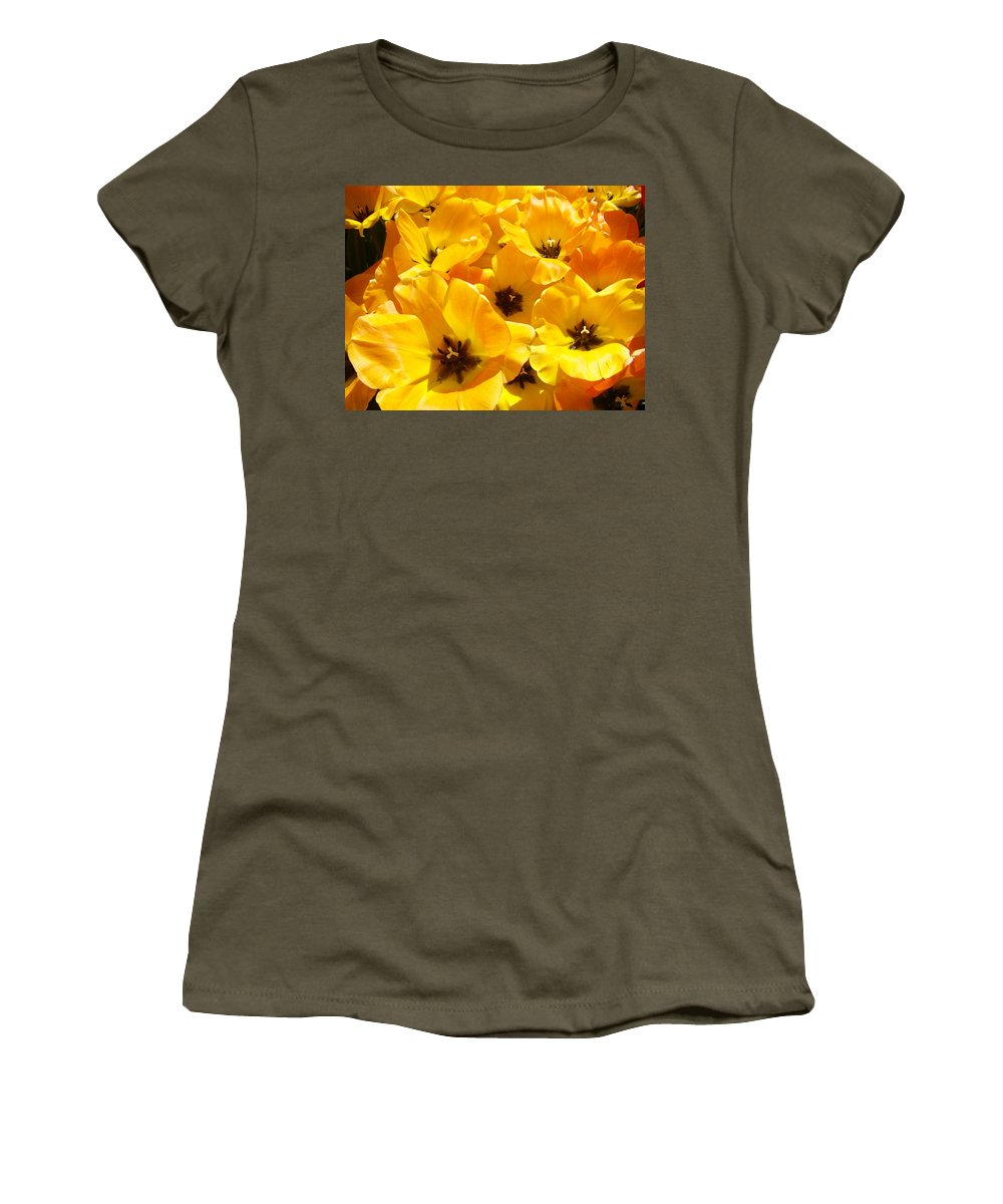 Tulip Women's T-Shirt featuring the photograph Tulips Art Prints Yellow Tulip Flowers Floral by Baslee Troutman