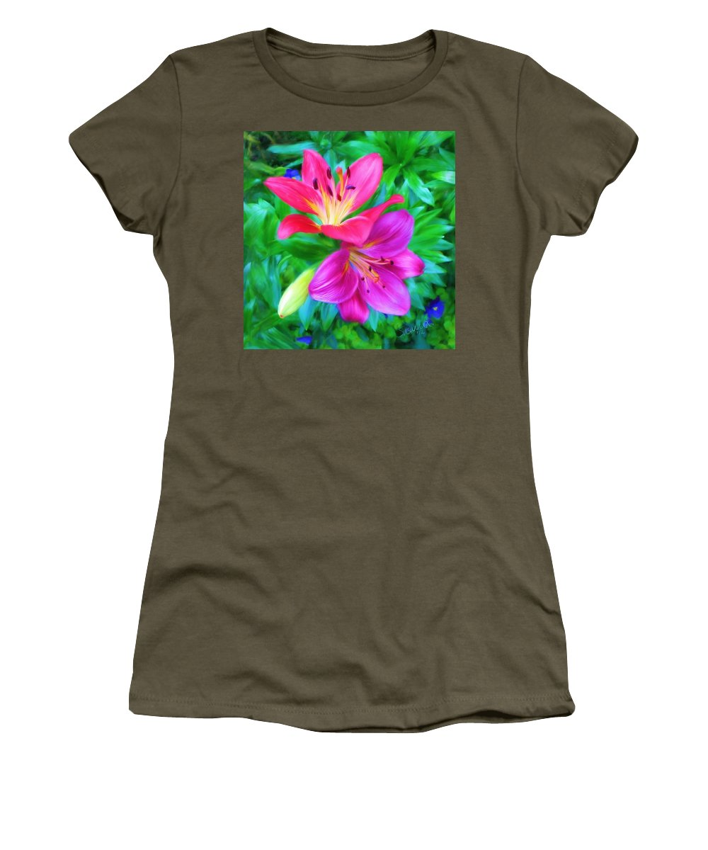 Lily Women's T-Shirt featuring the painting Two Lily Flowers by Susanna Katherine