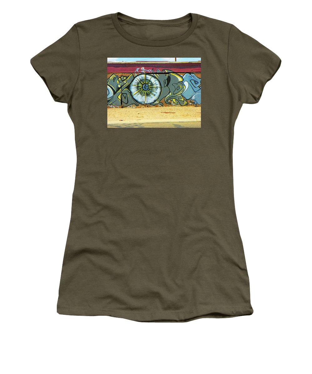 Abstract Women's T-Shirt featuring the photograph Typical Urban Fence 3 by Lenore Senior