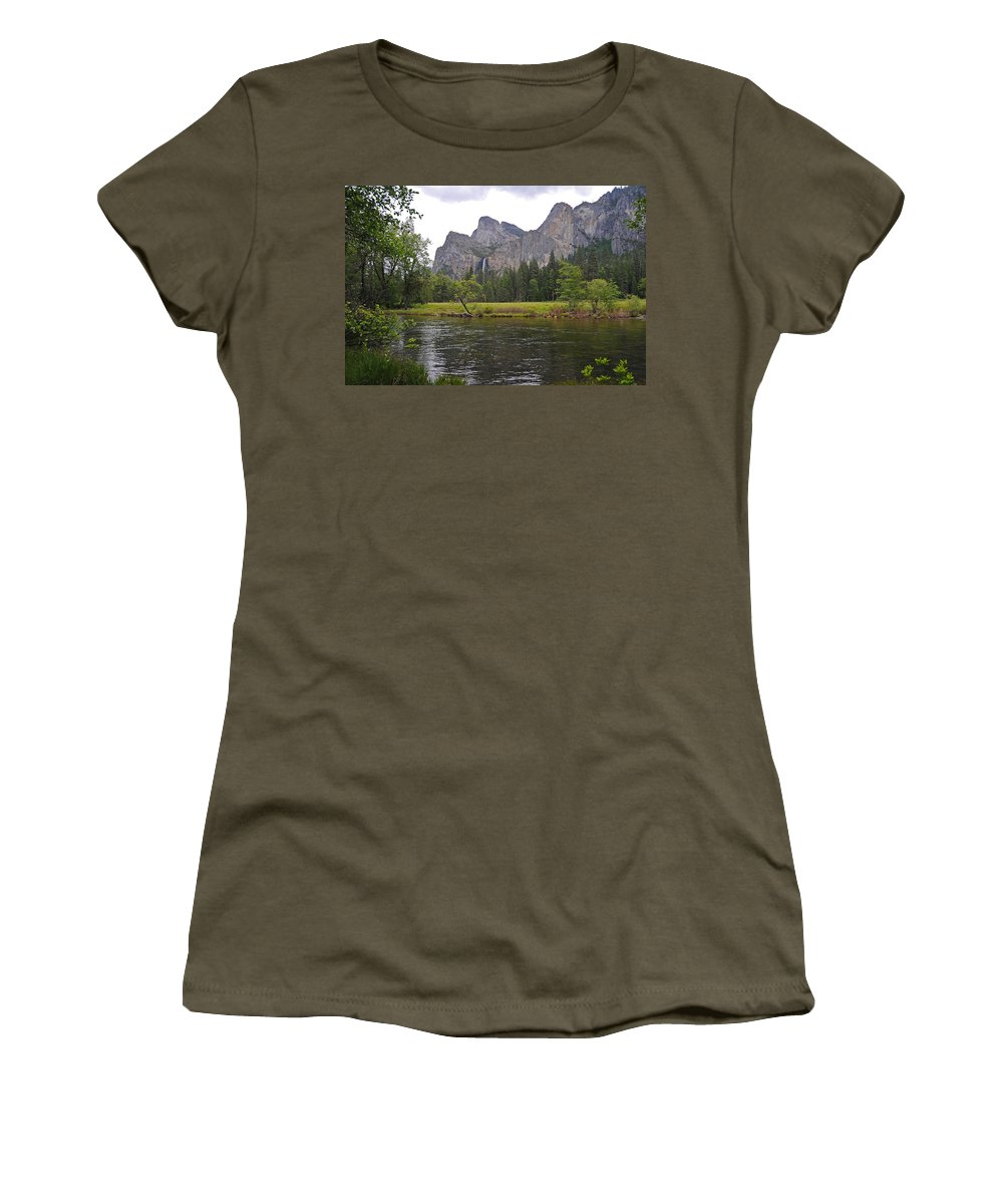 Yosemite Women's T-Shirt (Athletic Fit) featuring the photograph Valley View Of Bridalveil Falls by Lynn Bauer