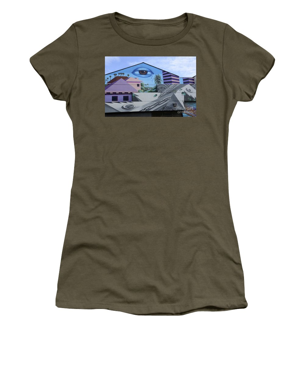 Wall Art Women's T-Shirt featuring the photograph Venice Beach Wall Art 3 by Bob Christopher