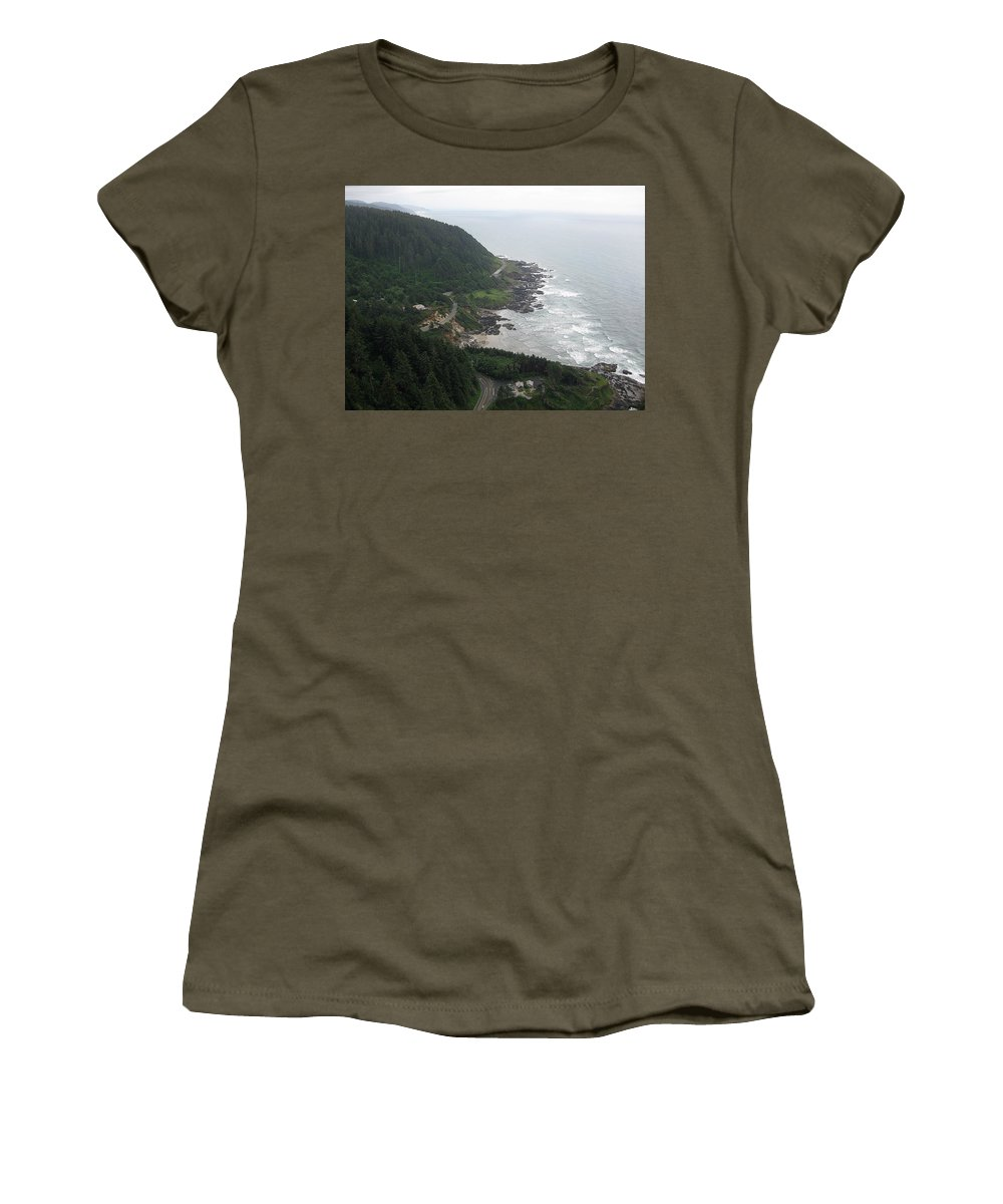 Cape Women's T-Shirt featuring the photograph View From Cape Perpetua 2 by Linda Hutchins