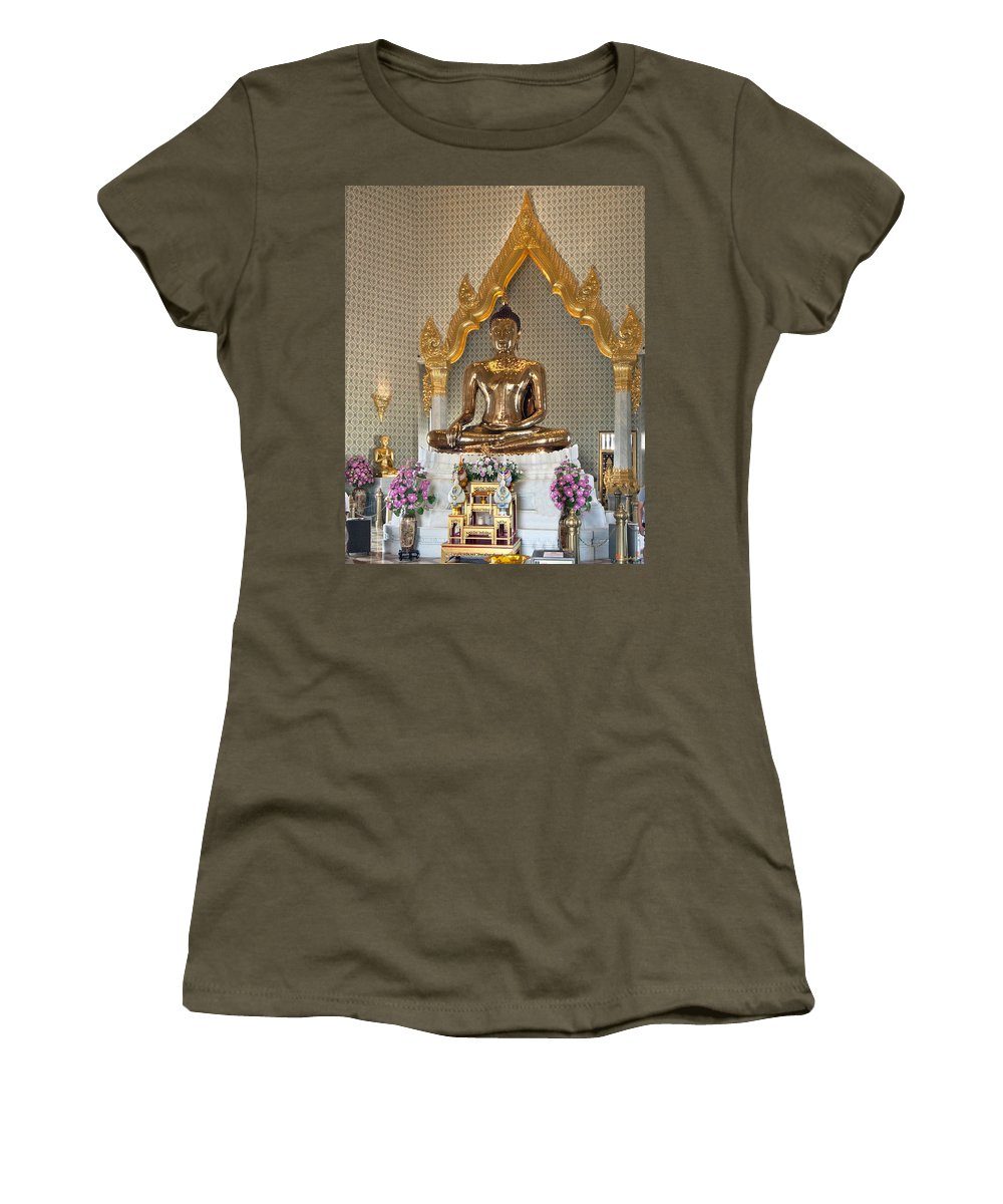 Bangkok Women's T-Shirt (Athletic Fit) featuring the photograph Wat Traimit Golden Buddha Dthb964 by Gerry Gantt