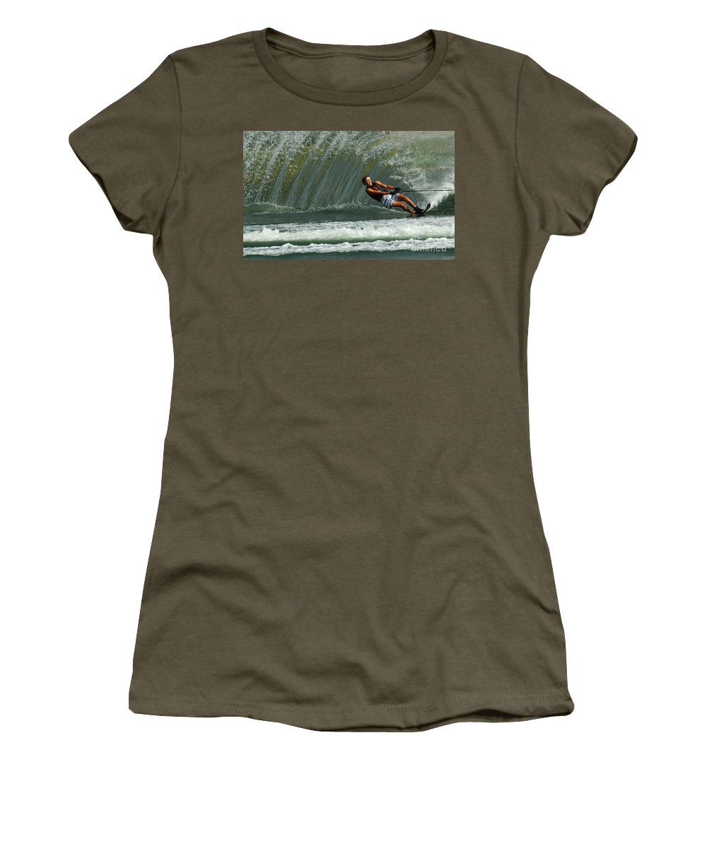 Water Skiing Women's T-Shirt featuring the photograph Water Skiing Magic Of Water 1 by Bob Christopher