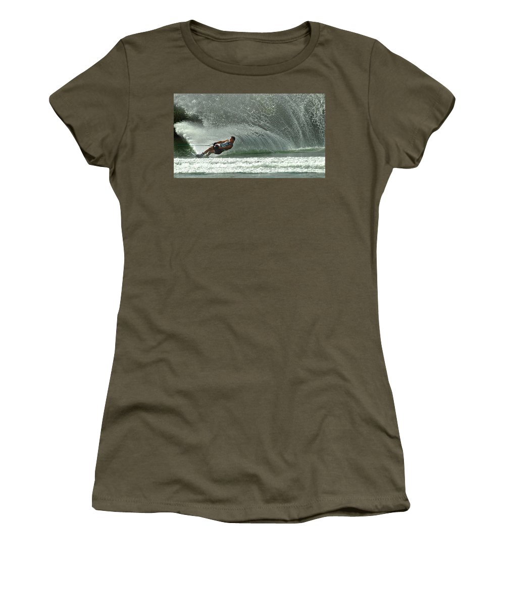 Water Skiing Women's T-Shirt featuring the photograph Water Skiing Magic Of Water 7 by Bob Christopher