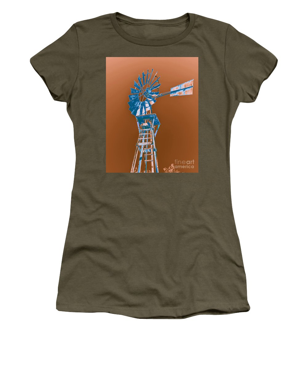 Windmill Women's T-Shirt (Athletic Fit) featuring the photograph Windmill Blue by Rebecca Margraf