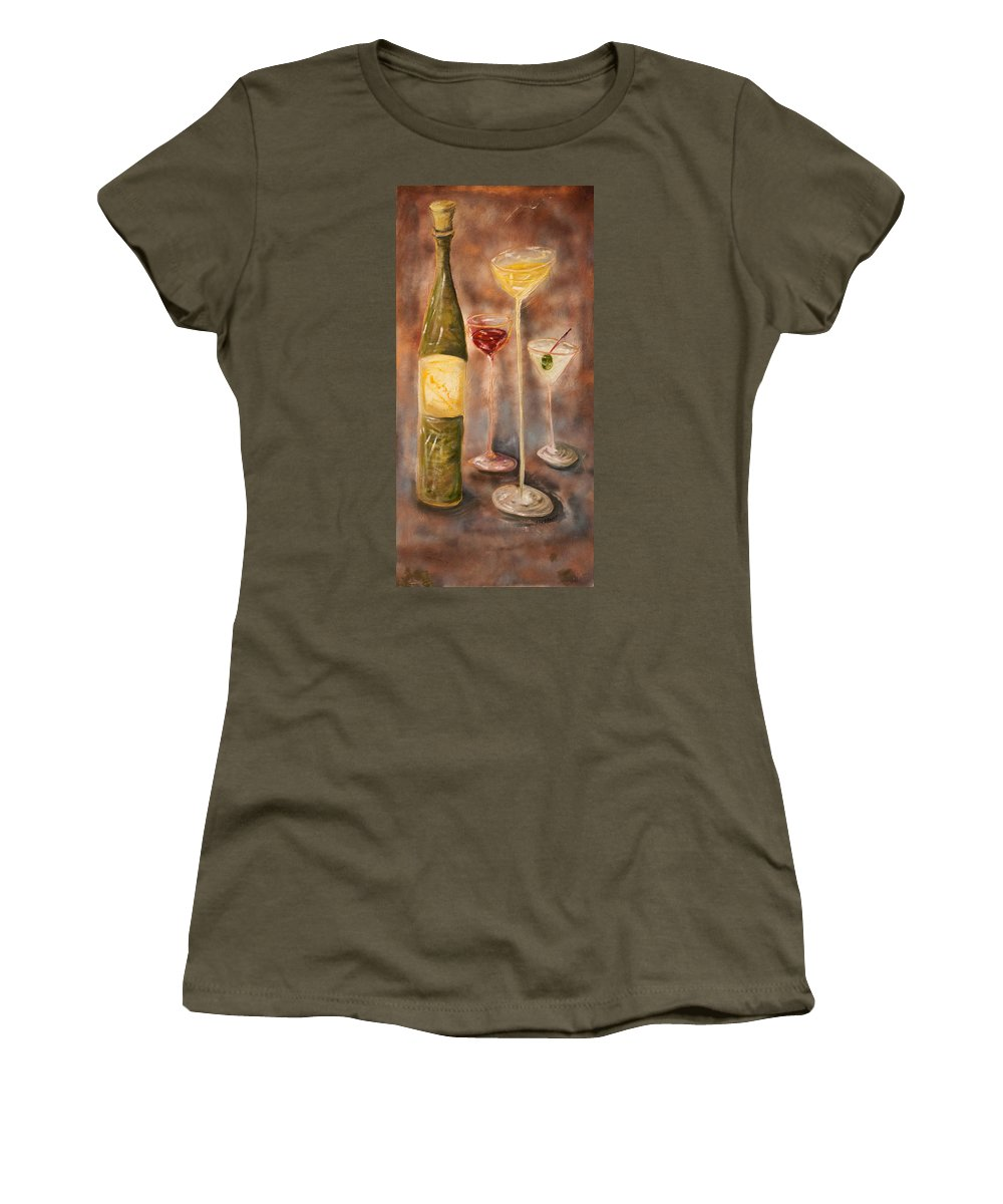 Abstracticle Still Life Women's T-Shirt (Athletic Fit) featuring the painting Wine Or Martini? by Chuck Gebhardt