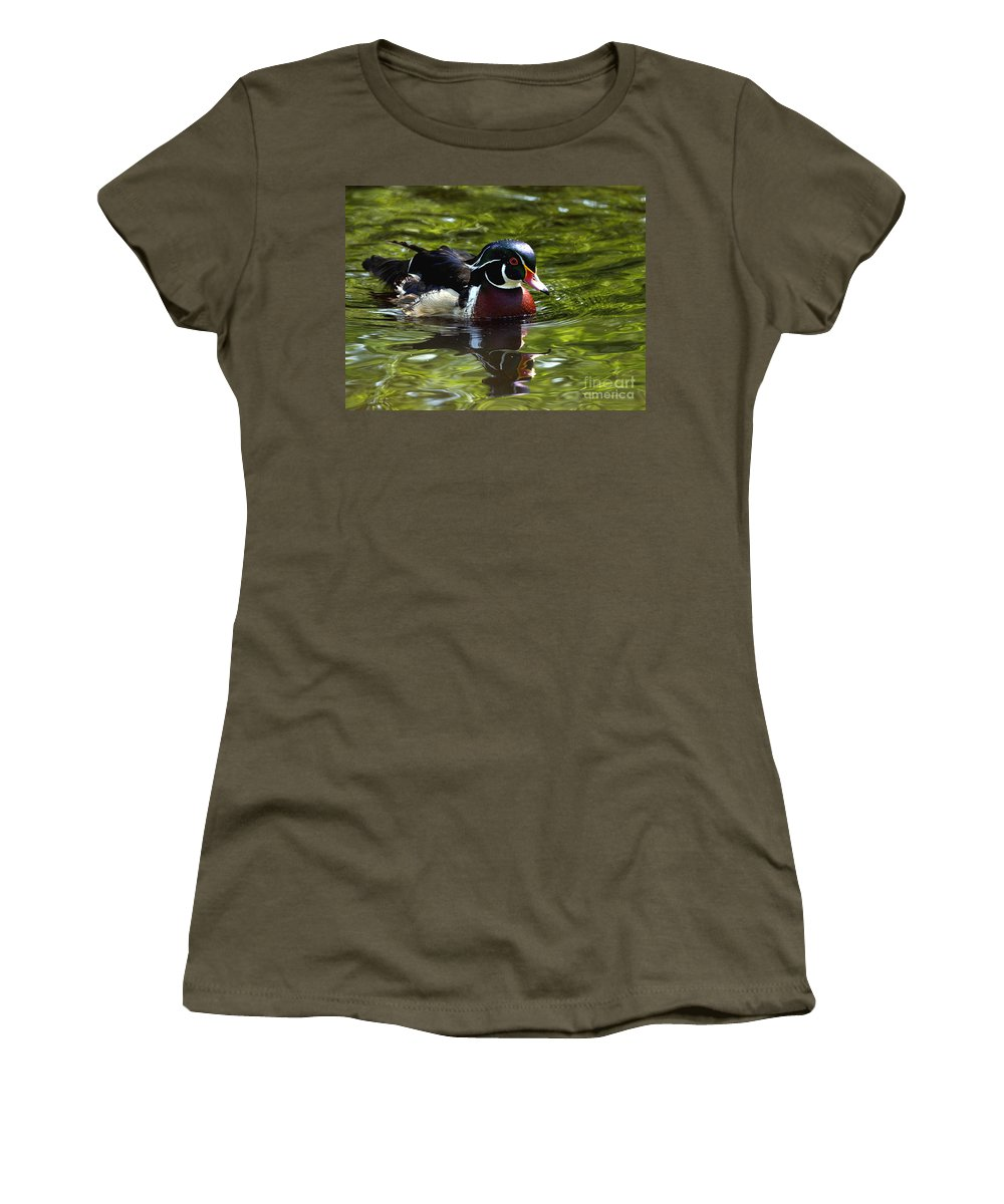 Wood Duck Women's T-Shirt (Athletic Fit) featuring the photograph Wood Duck by Sharon Talson