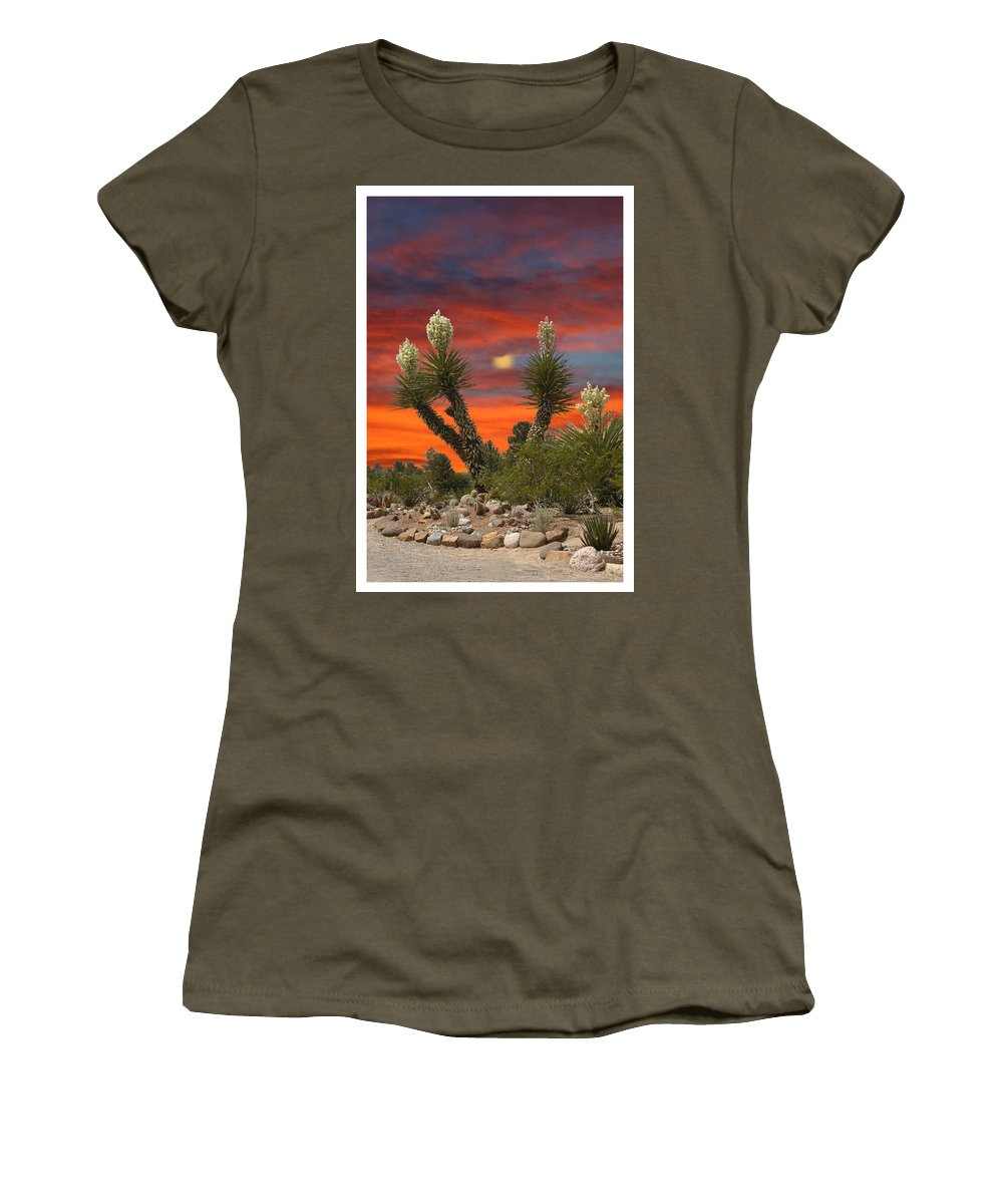 Yucca In Bloom Women's T-Shirt featuring the photograph Yucca Blooming Sunset-moonset by Jack Pumphrey