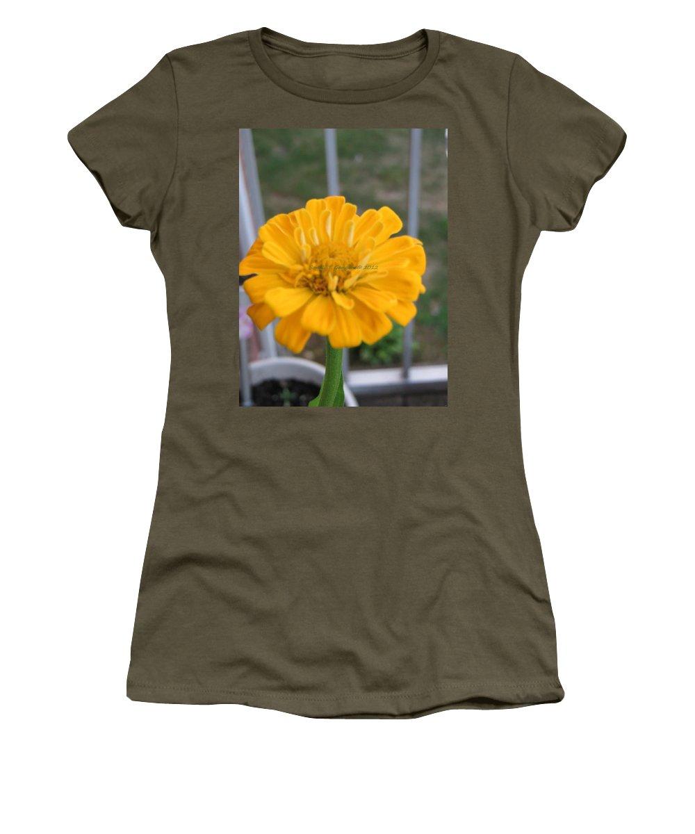 Amarillo Flower Women's T-Shirt featuring the photograph Zinnia Named After Zinn by Sonali Gangane