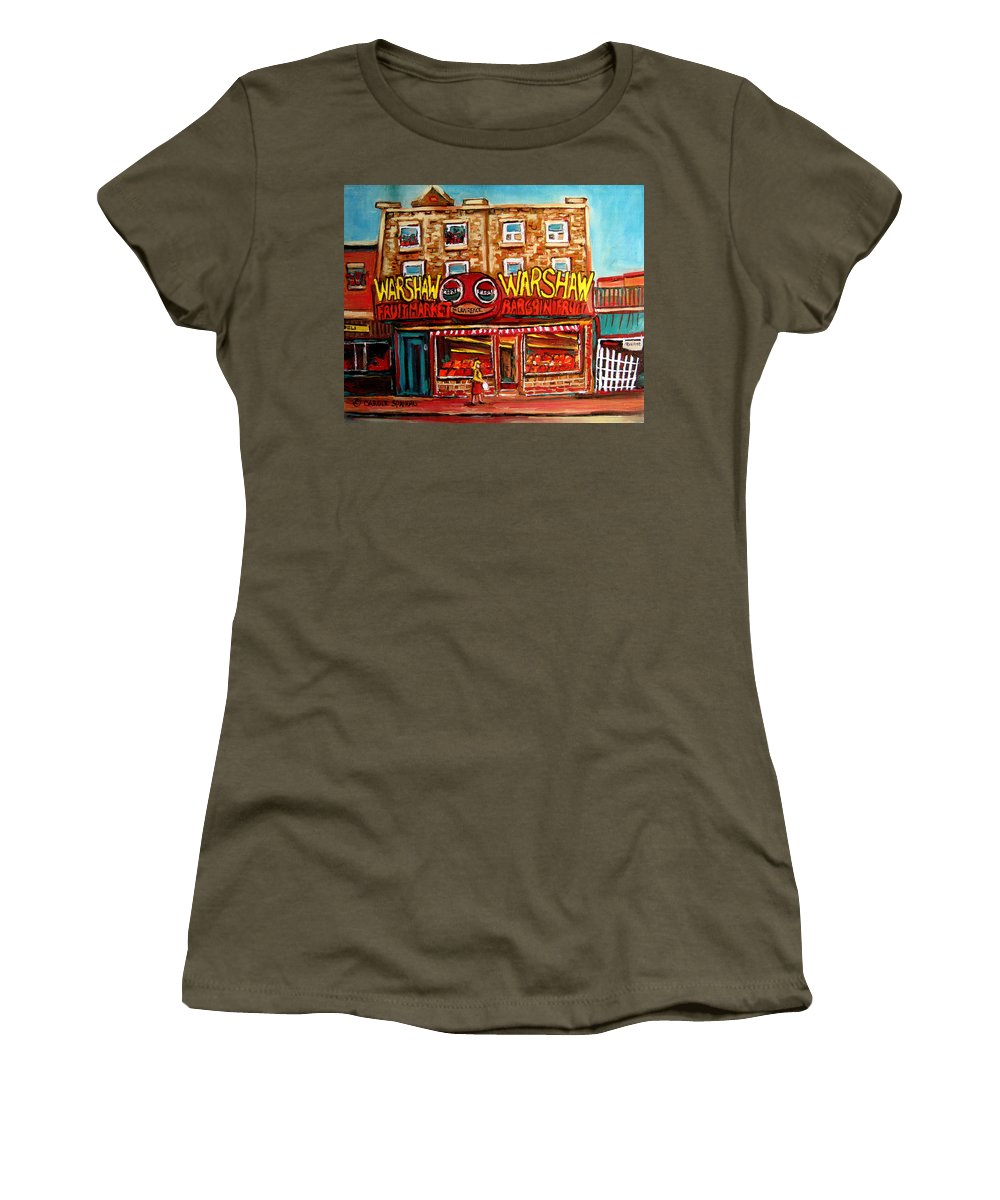 Warshaws Fruitmarket Women's T-Shirt (Athletic Fit) featuring the painting Fifties Fruitstore by Carole Spandau