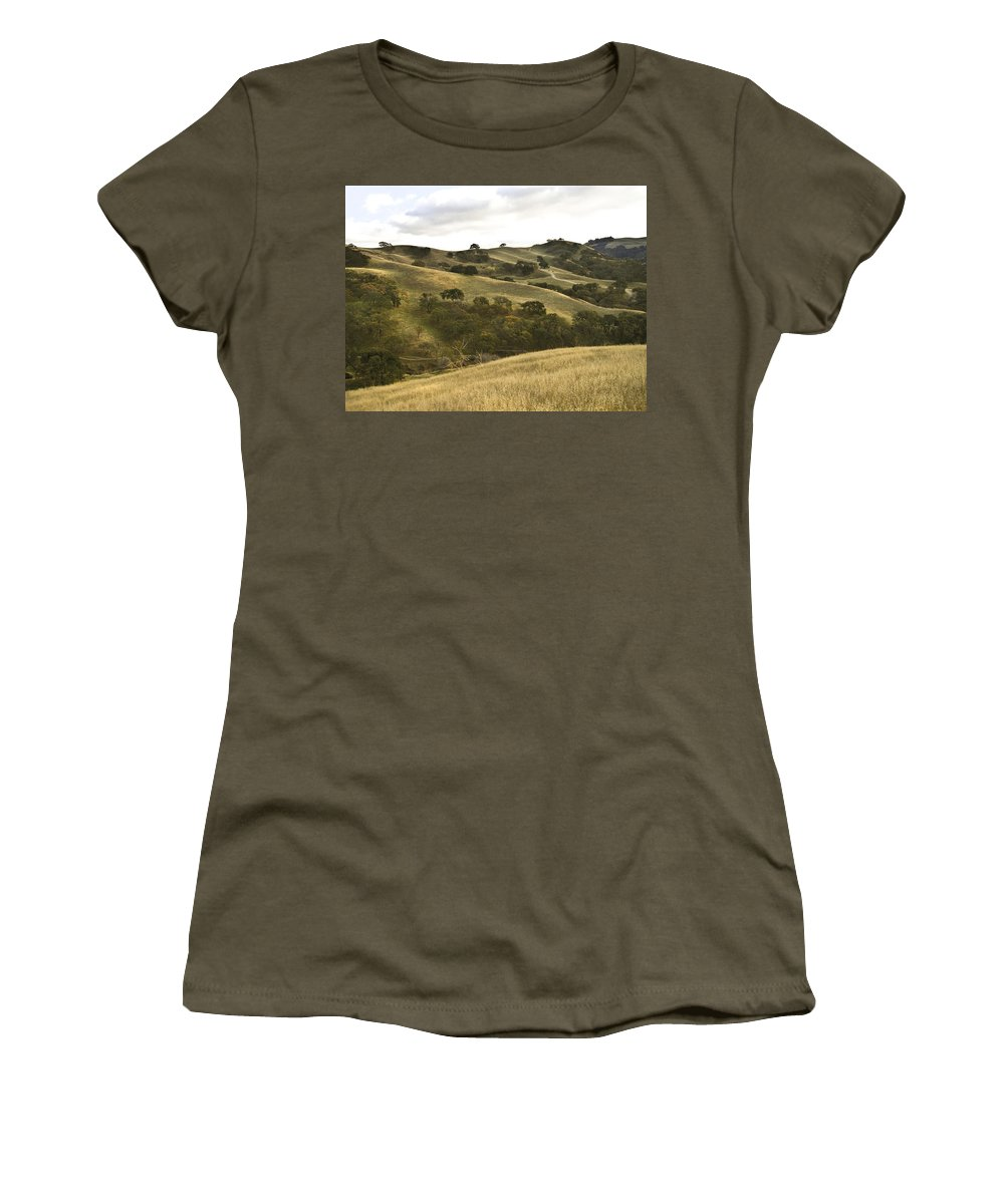 Landscape Women's T-Shirt (Athletic Fit) featuring the photograph First Hill In Fall by Karen W Meyer