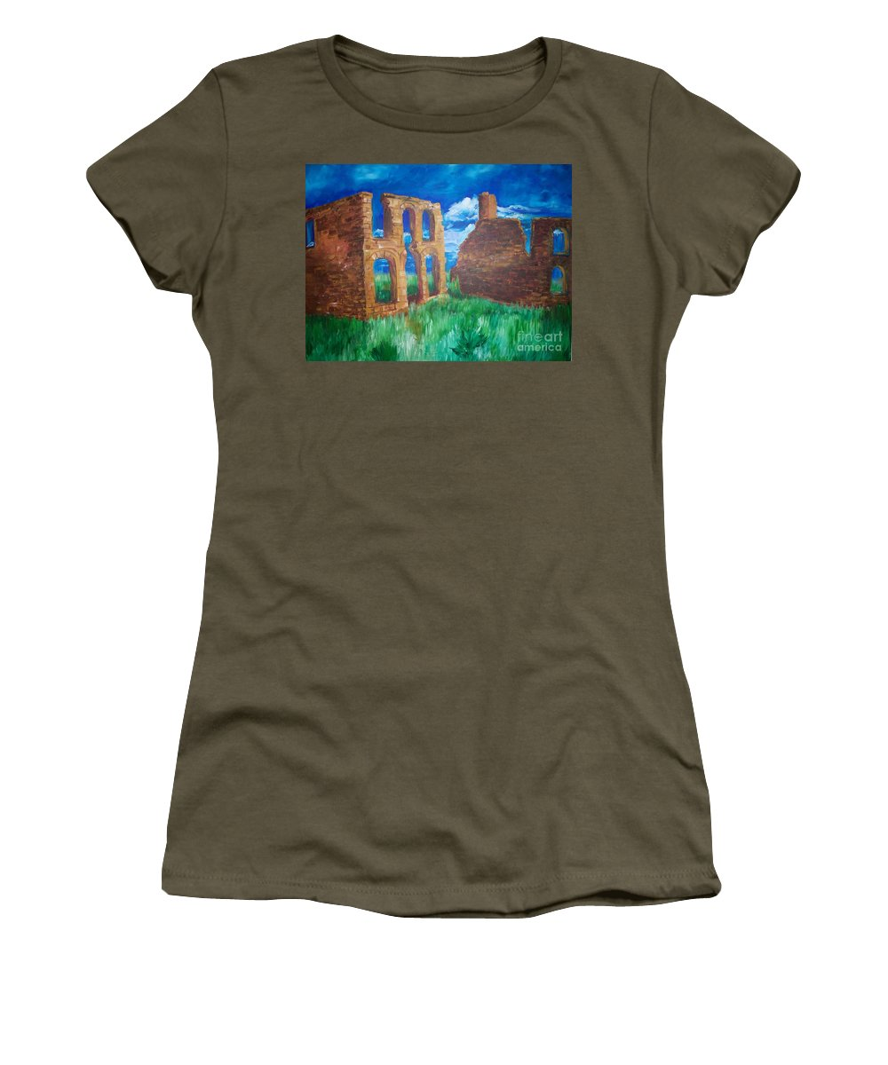 Western_landscapes Women's T-Shirt (Athletic Fit) featuring the painting Ghost Town by Eric Schiabor
