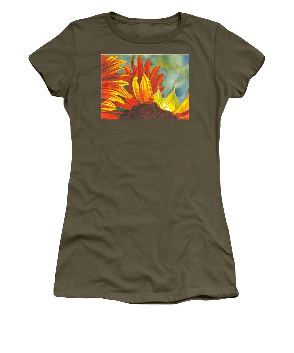 Sunflower Women's T-Shirt (Athletic Fit) featuring the painting Ray by Catherine G McElroy