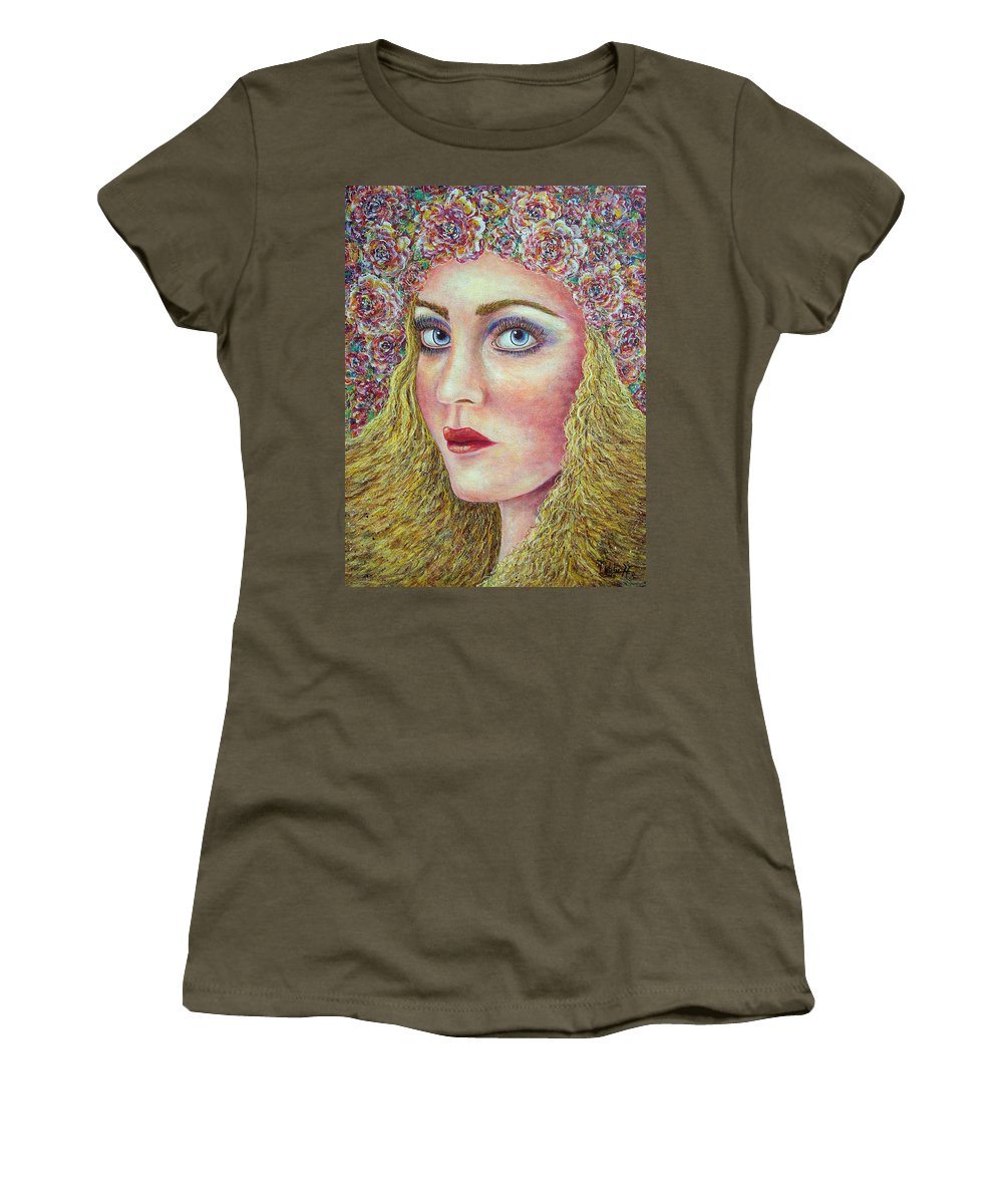 Woman Women's T-Shirt (Athletic Fit) featuring the painting  The Flower Girl by Natalie Holland