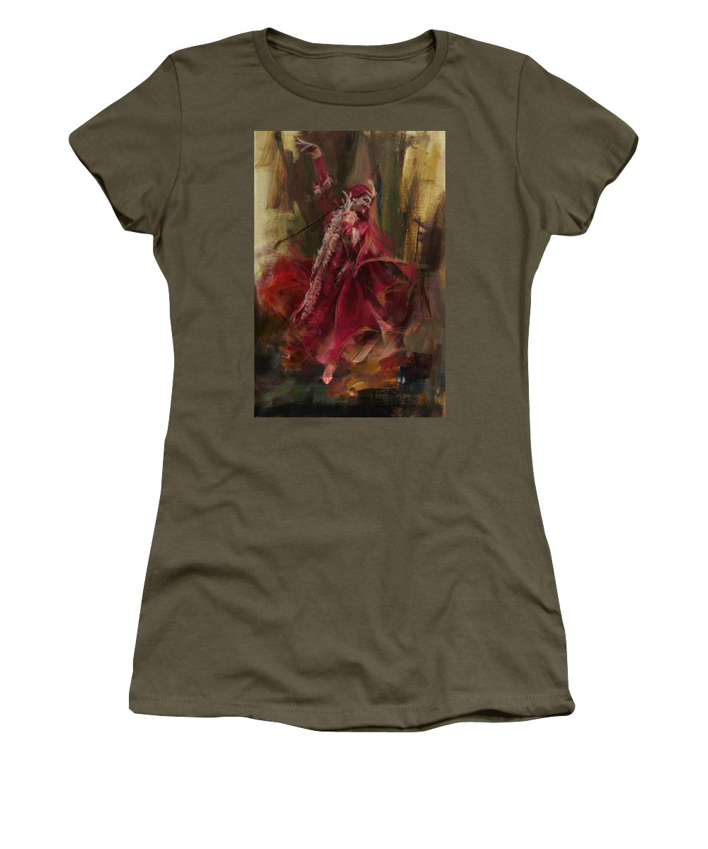 Attan Dance Women's T-Shirt featuring the painting 001 Pakhtun by Maryam Mughal
