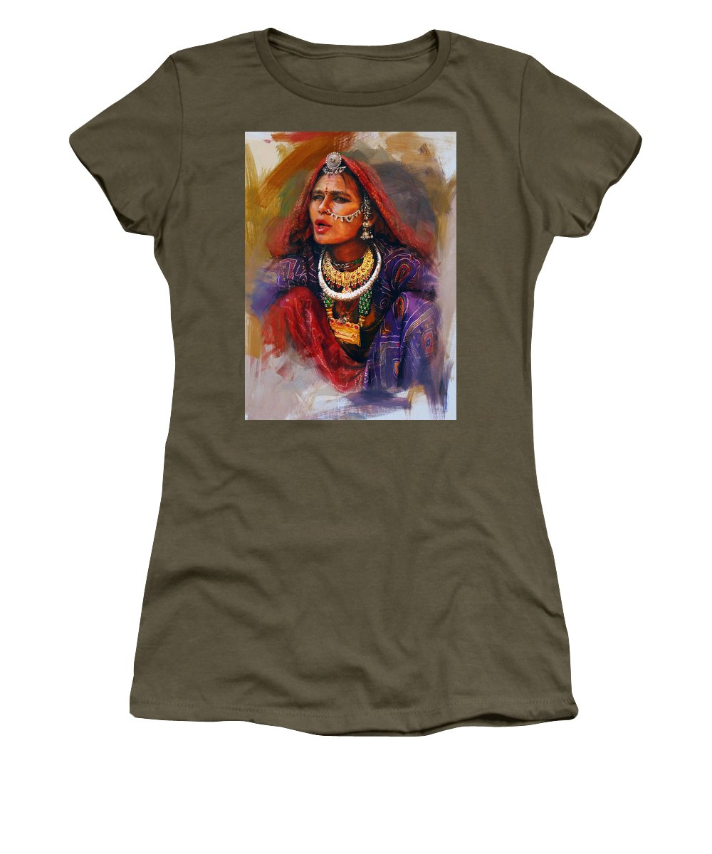 Women Women's T-Shirt featuring the painting 027 Sindh by Mahnoor Shah