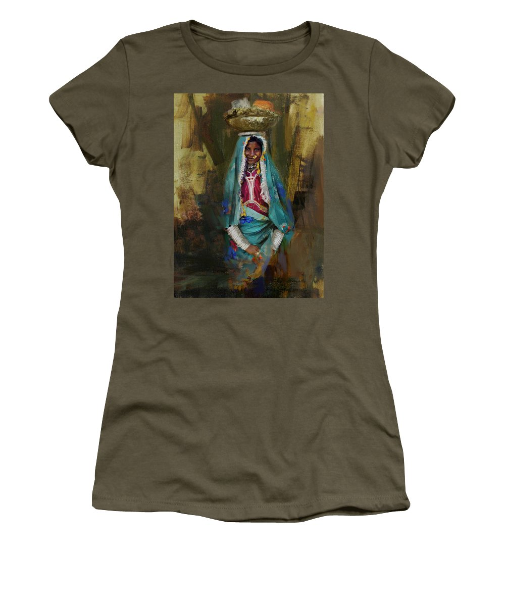 Women Women's T-Shirt featuring the painting 030 Sindh by Maryam Mughal