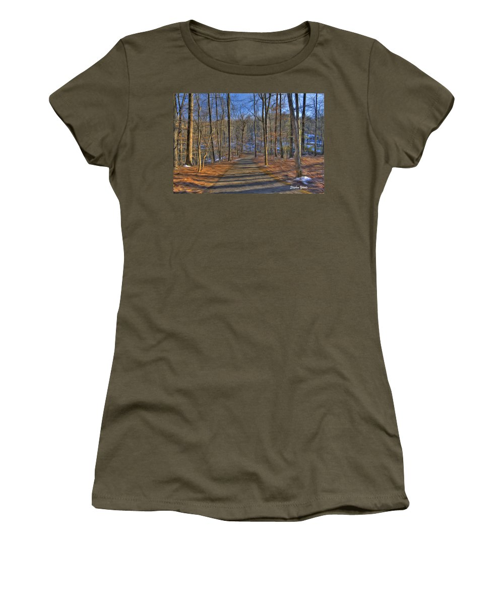 West Women's T-Shirt featuring the digital art A Winter's Walk by Stephen Younts