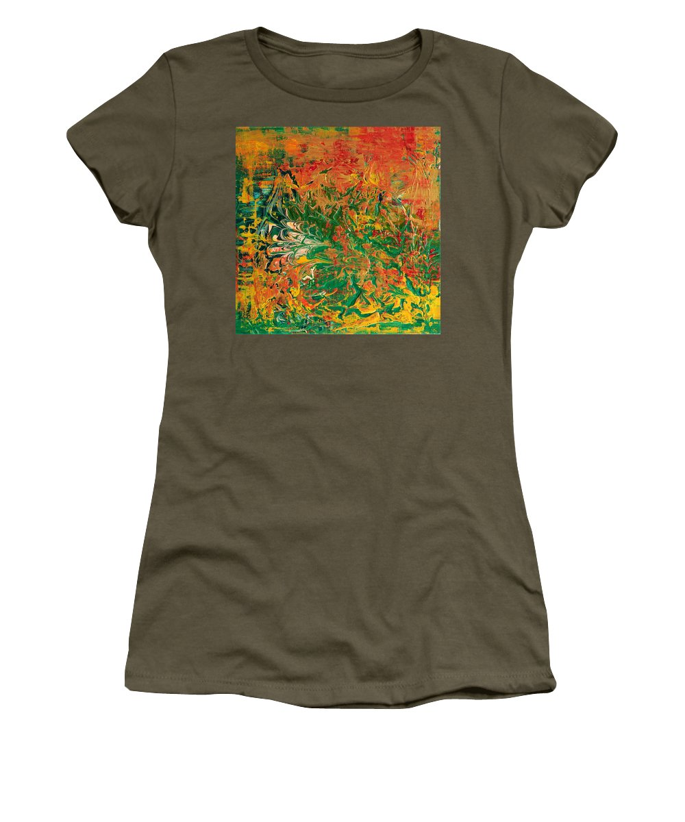 #artist #art #abstract #painting #textured #paints #rahat #beautiful #insta #dailyart #love #life #instamood #follow #amazing #world #pics #india #terraincognita #oilpastels #artbasel #artbuyers #artdealer #artcollector #artmuseum #paintingoftheday #contemporaryart #fashion #abstractart Women's T-Shirt (Athletic Fit) featuring the painting Abstract Art by Rahat Kazmi