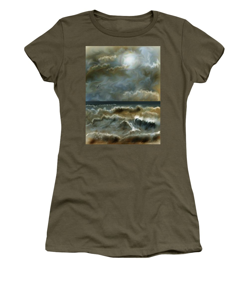 Seascape Women's T-Shirt (Athletic Fit) featuring the painting After The Squall by Anne Norskog
