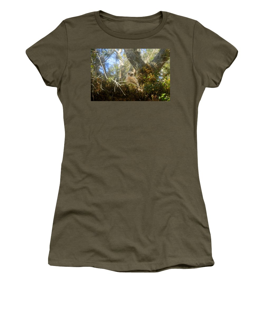 Great Horned Owl Women's T-Shirt (Athletic Fit) featuring the photograph Babe In The Woods by David Lee Thompson