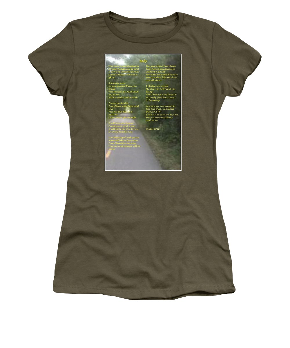 Love Women's T-Shirt (Athletic Fit) featuring the mixed media Baby by Cliff Ball