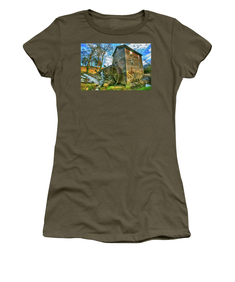 Blowing Cave Mill Women's T-Shirt featuring the photograph Blowing Cave Mill Near Smoky Mountains Of East Tennessee by Carol Mellema