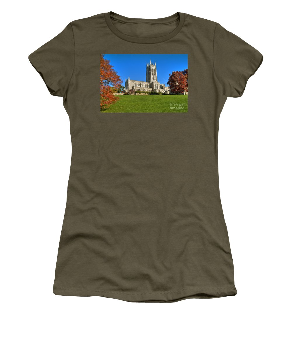 Bryn Athyn Cathedral Pennsylvania Church Women's T-Shirt (Athletic Fit) featuring the photograph Bryn Athyn Cathedral Pennsylvania by David Zanzinger