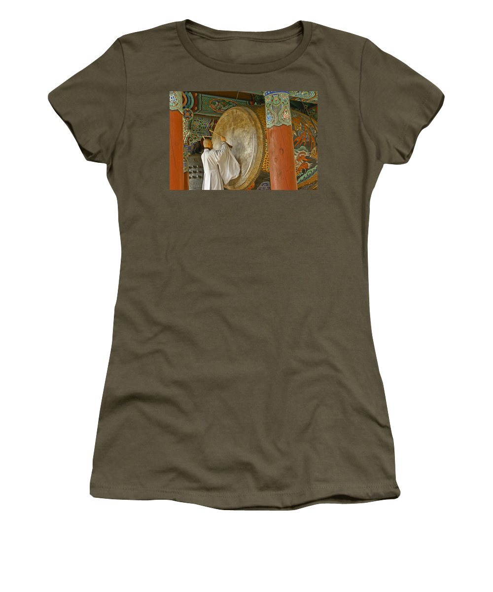 Asia Women's T-Shirt featuring the photograph Buddhist Monk Drumming by Michele Burgess