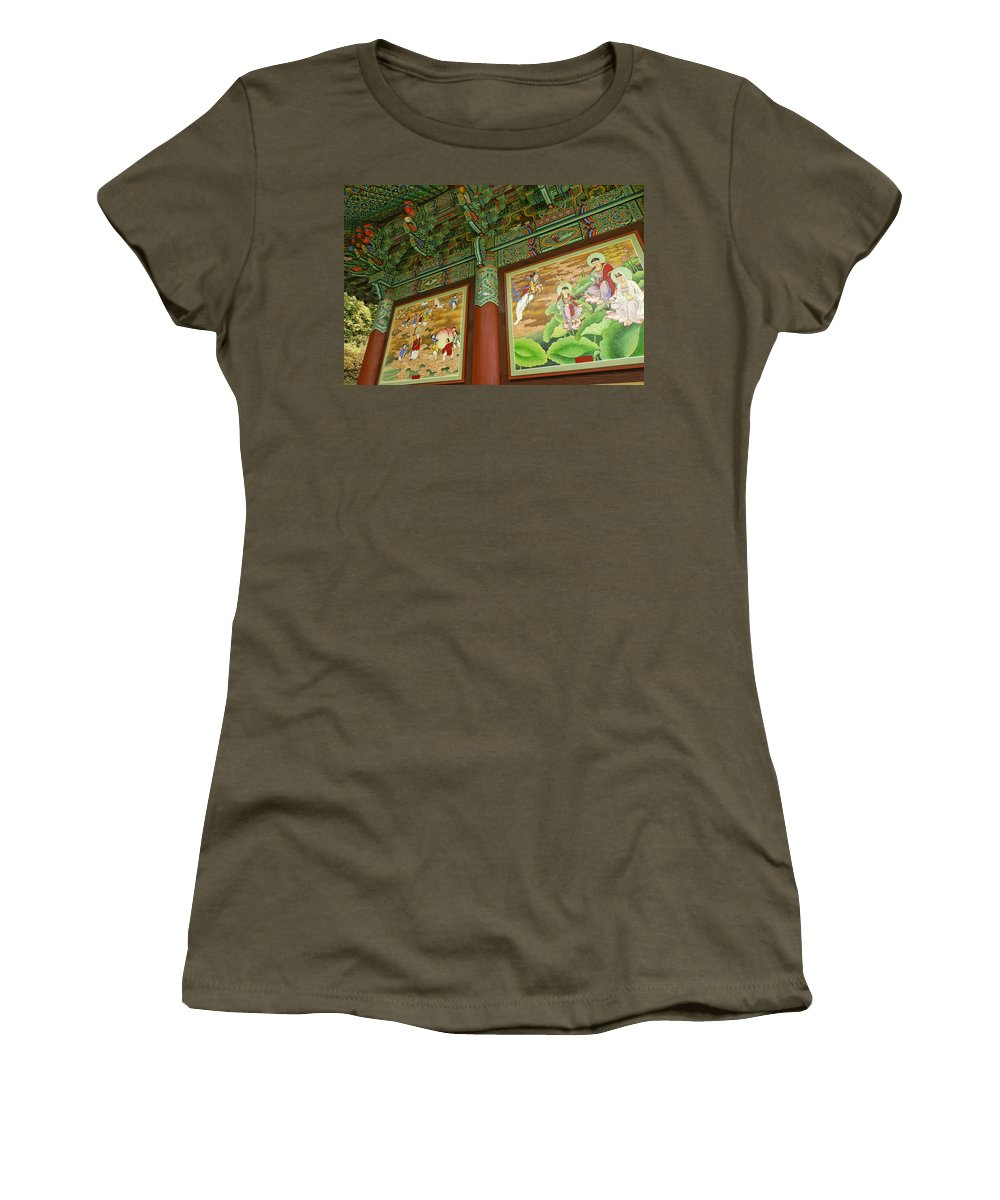 Buddha Women's T-Shirt featuring the photograph Buddhist Murals by Michele Burgess
