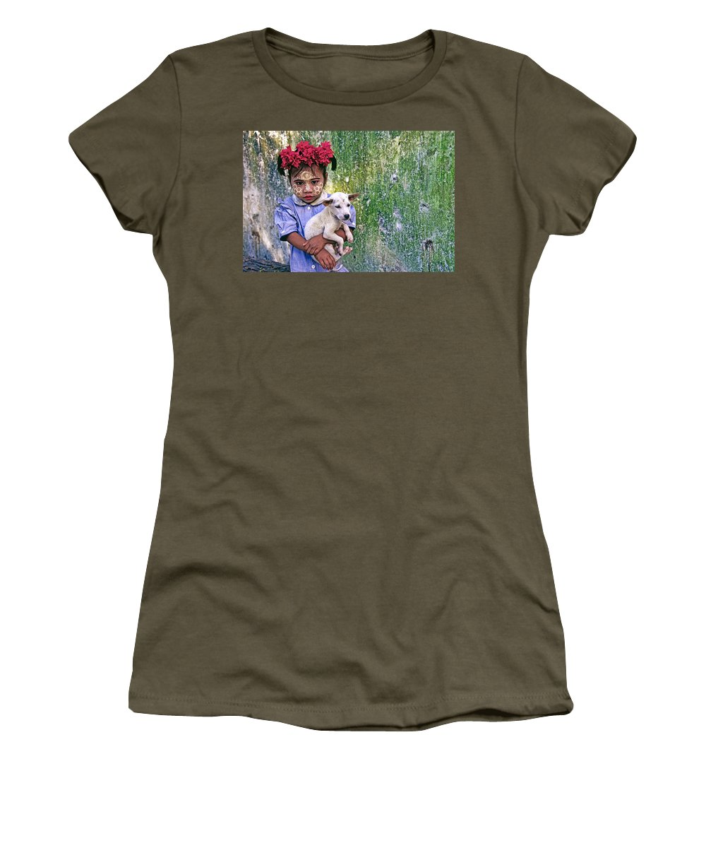 Myanmar Women's T-Shirt featuring the photograph Burmese Girl With Puppy by Michele Burgess