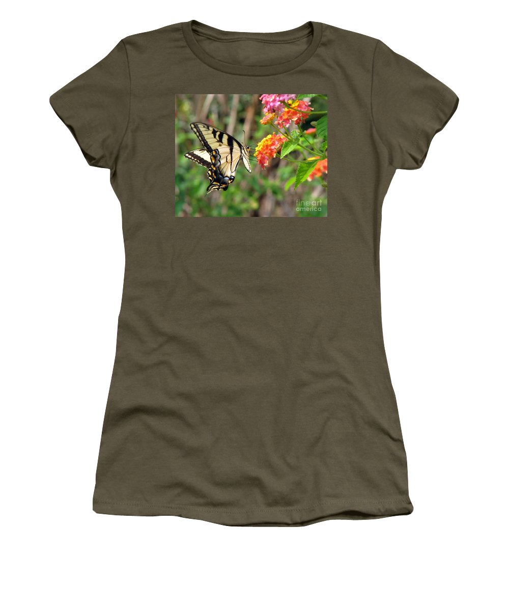 Butterfly Women's T-Shirt (Athletic Fit) featuring the photograph Butterfly by Amanda Barcon