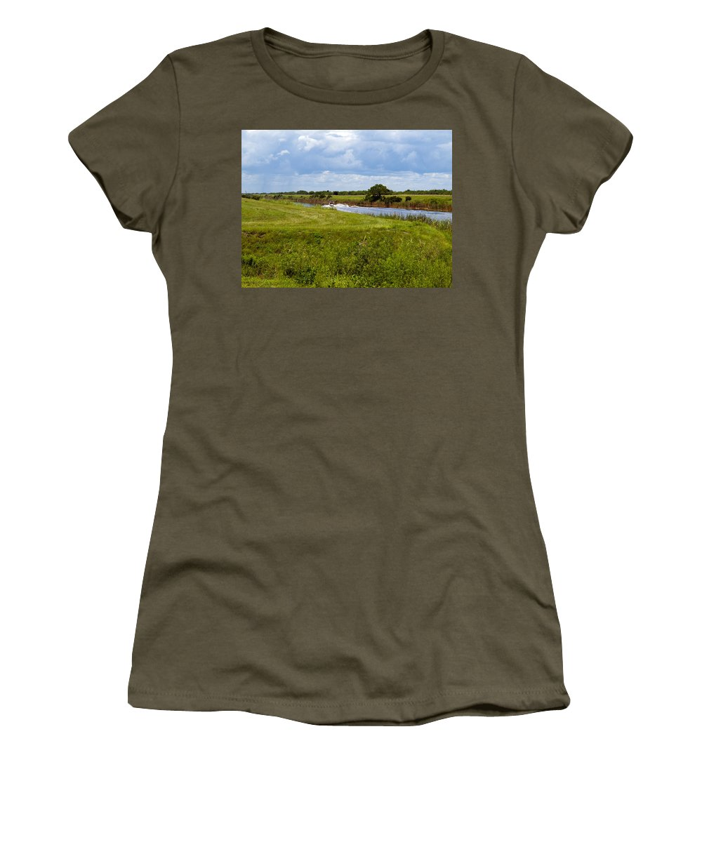 Florida; C54; Canal; Fellsmere; Sebastian; Grade; Drain; Draining; Water; Flow; Flowing; Indian; Riv Women's T-Shirt featuring the photograph C54 Canal In Florida by Allan Hughes