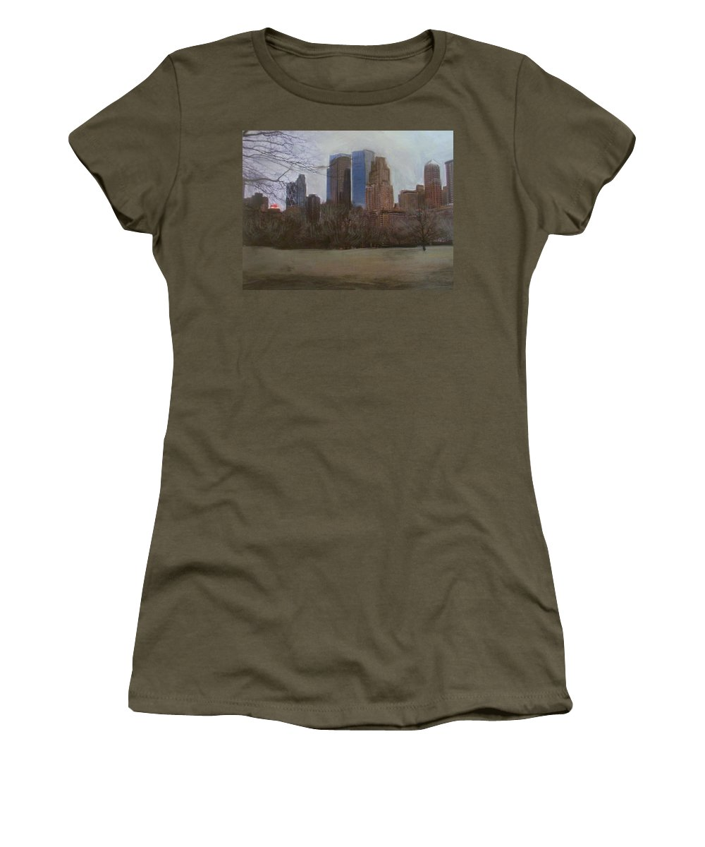 Central Park Women's T-Shirt featuring the painting Central Park by Anita Burgermeister