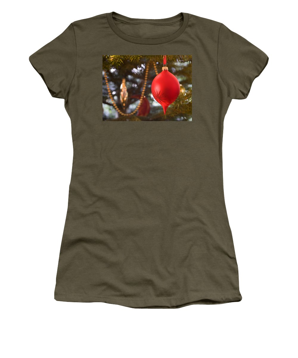 Christmas Women's T-Shirt (Athletic Fit) featuring the photograph Christmas Tree Decorations by Mal Bray