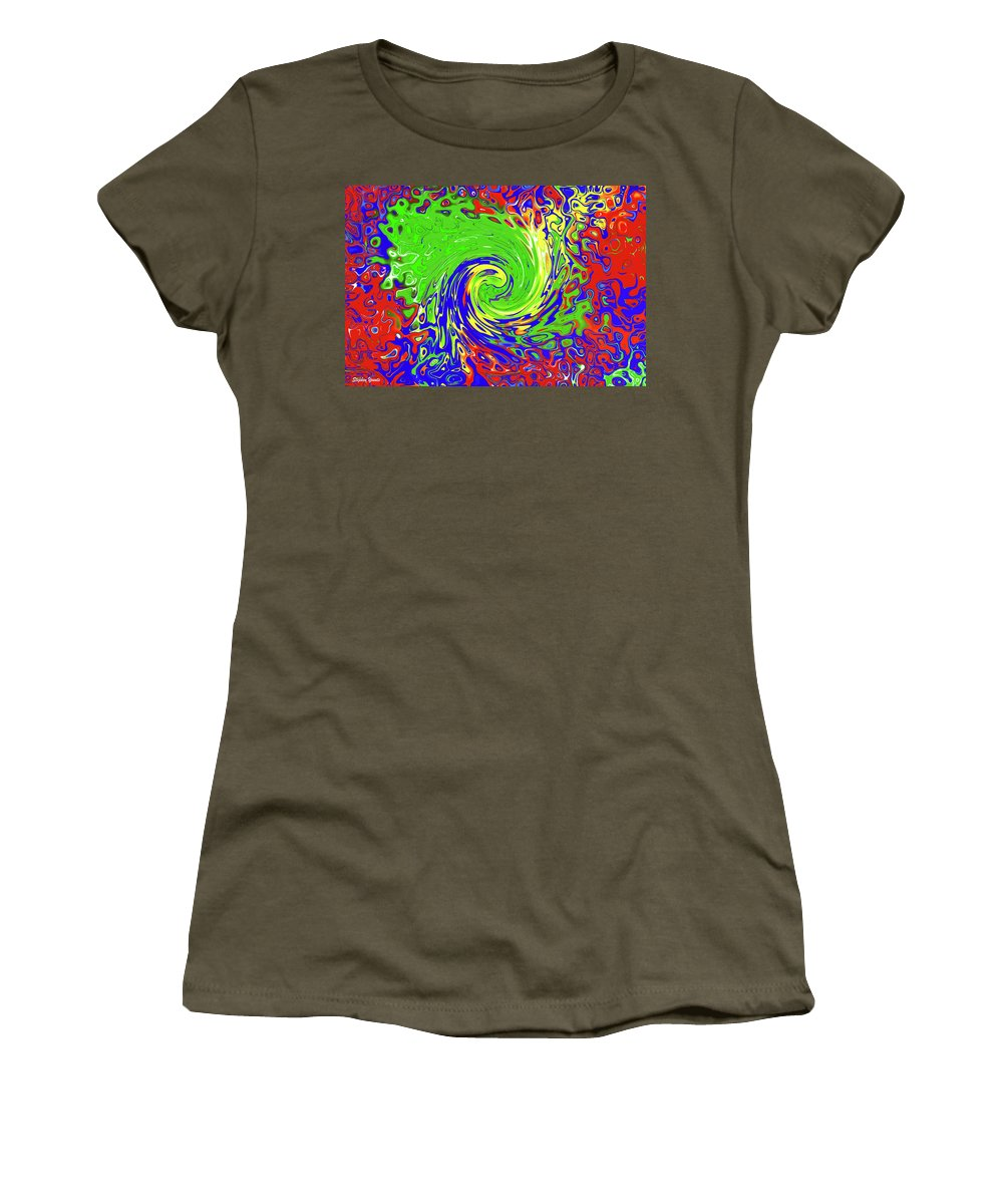 Abstract Women's T-Shirt (Athletic Fit) featuring the digital art Color Spin by Stephen Younts