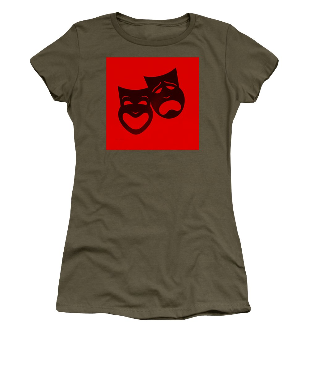Comedy And Tragedy Women's T-Shirt featuring the photograph Comedy N Tragedy Red by Rob Hans