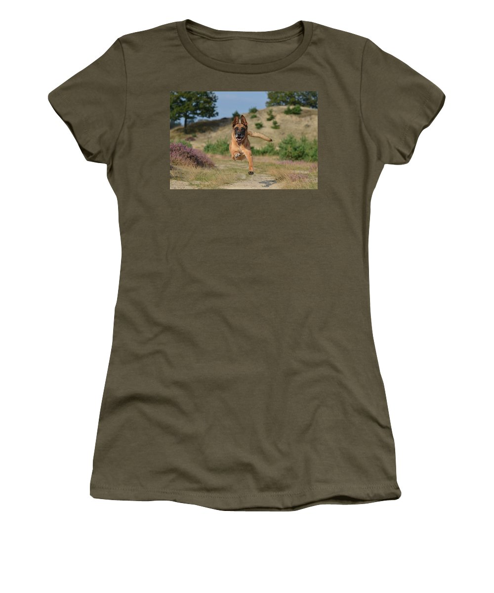 Dog Women's T-Shirt (Athletic Fit) featuring the photograph Dog Leaping by FL collection