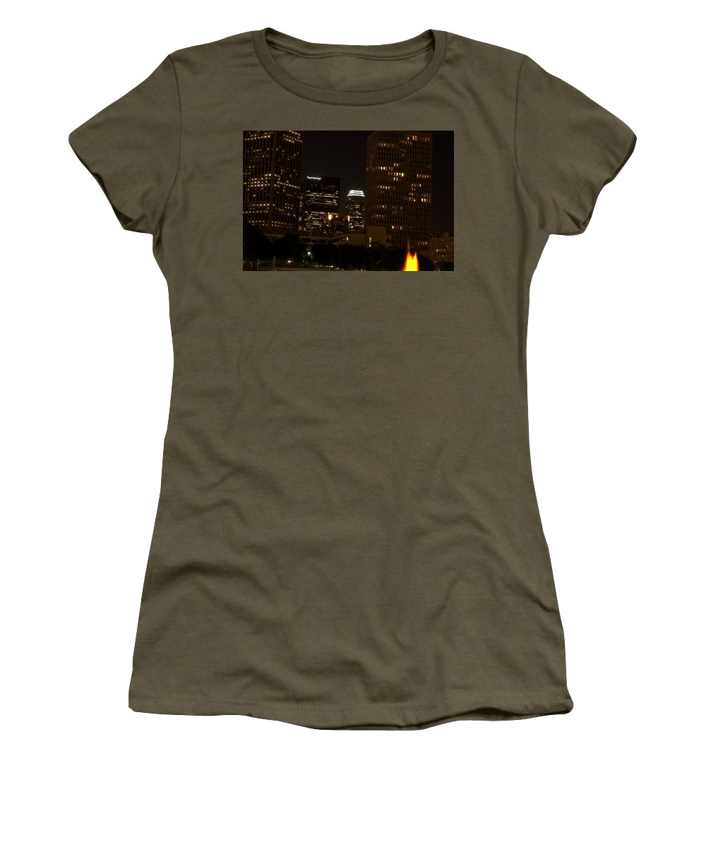 Clay Women's T-Shirt (Athletic Fit) featuring the photograph Downtown L.a. In Hdr by Clayton Bruster