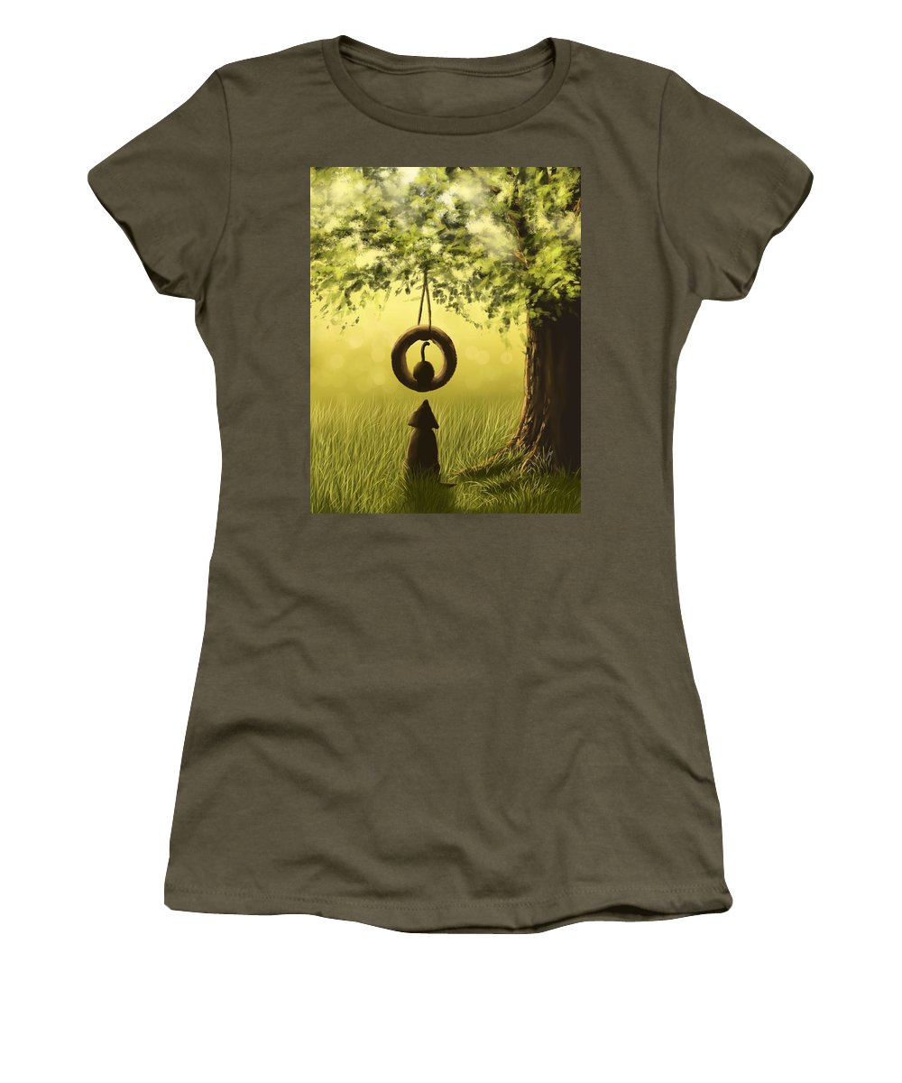 Dog Women's T-Shirt featuring the painting Friends by Veronica Minozzi