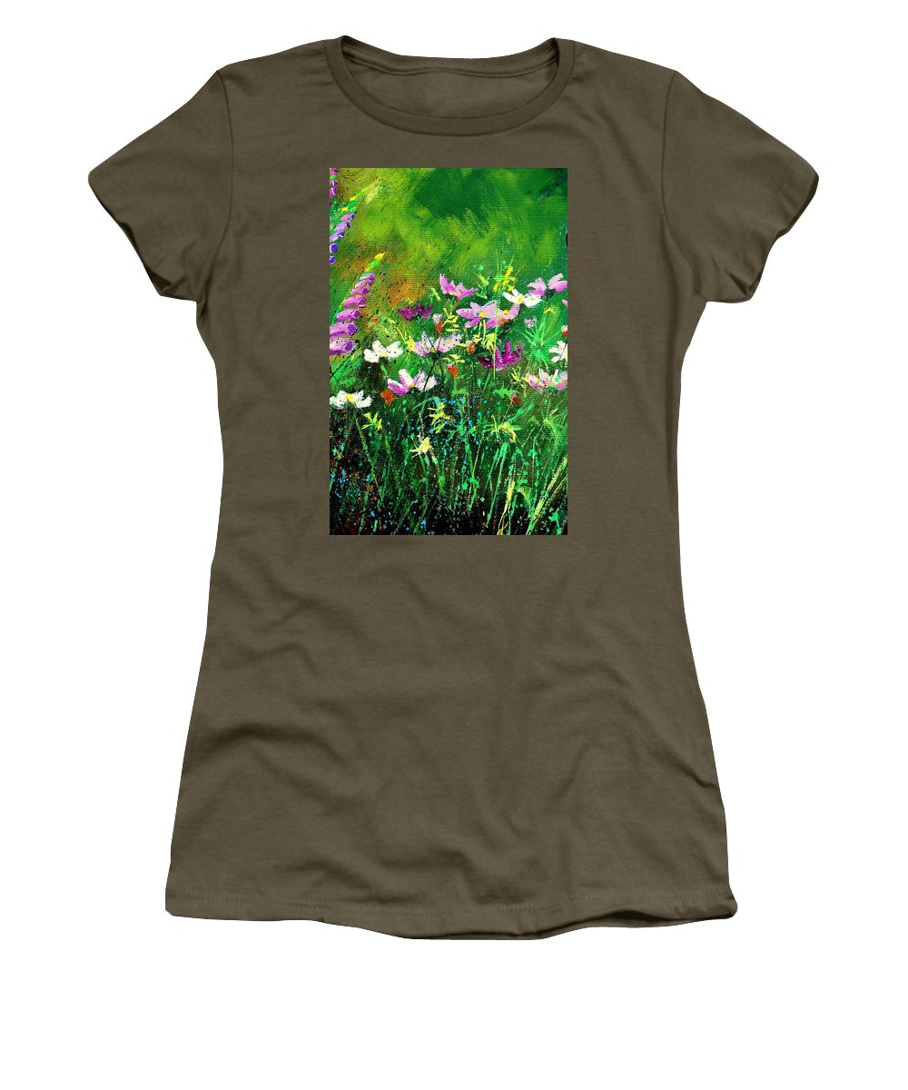 Flowers Women's T-Shirt featuring the painting Garden Flowers by Pol Ledent