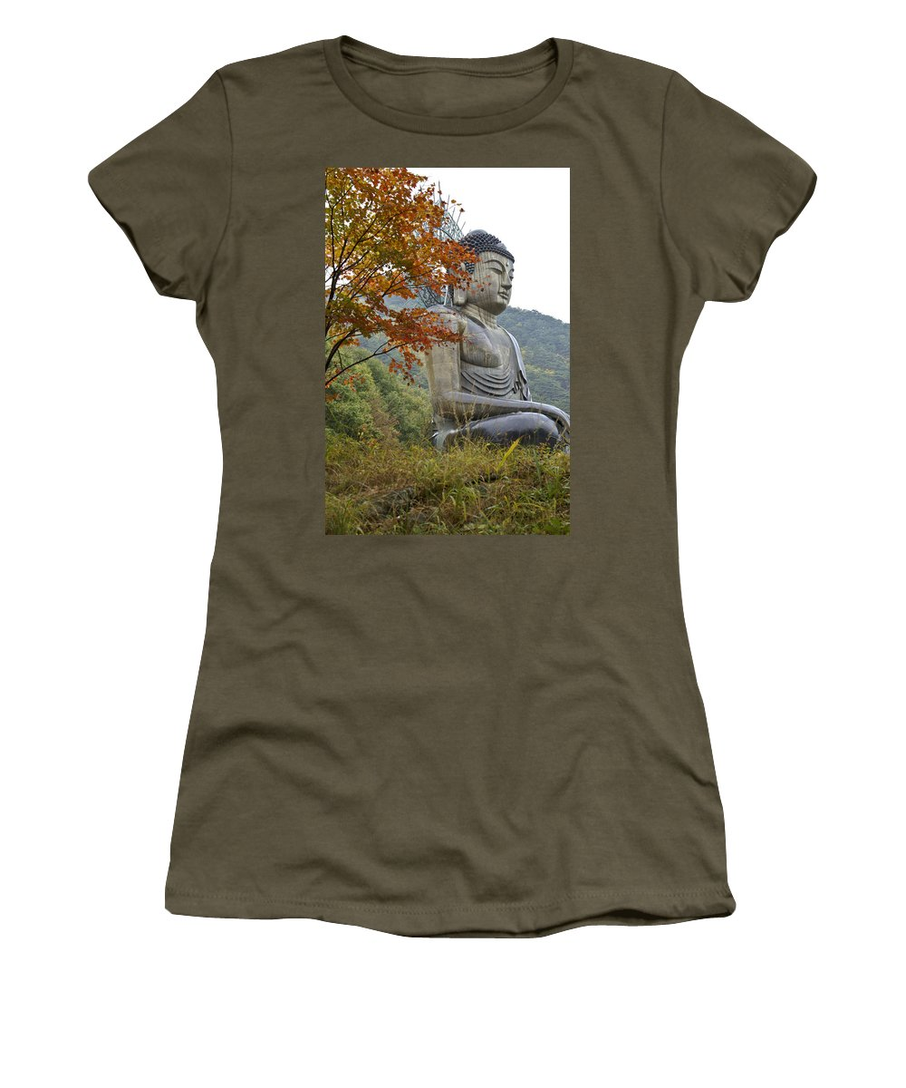 Buddha Women's T-Shirt featuring the photograph Great Buddha In Autumn by Michele Burgess