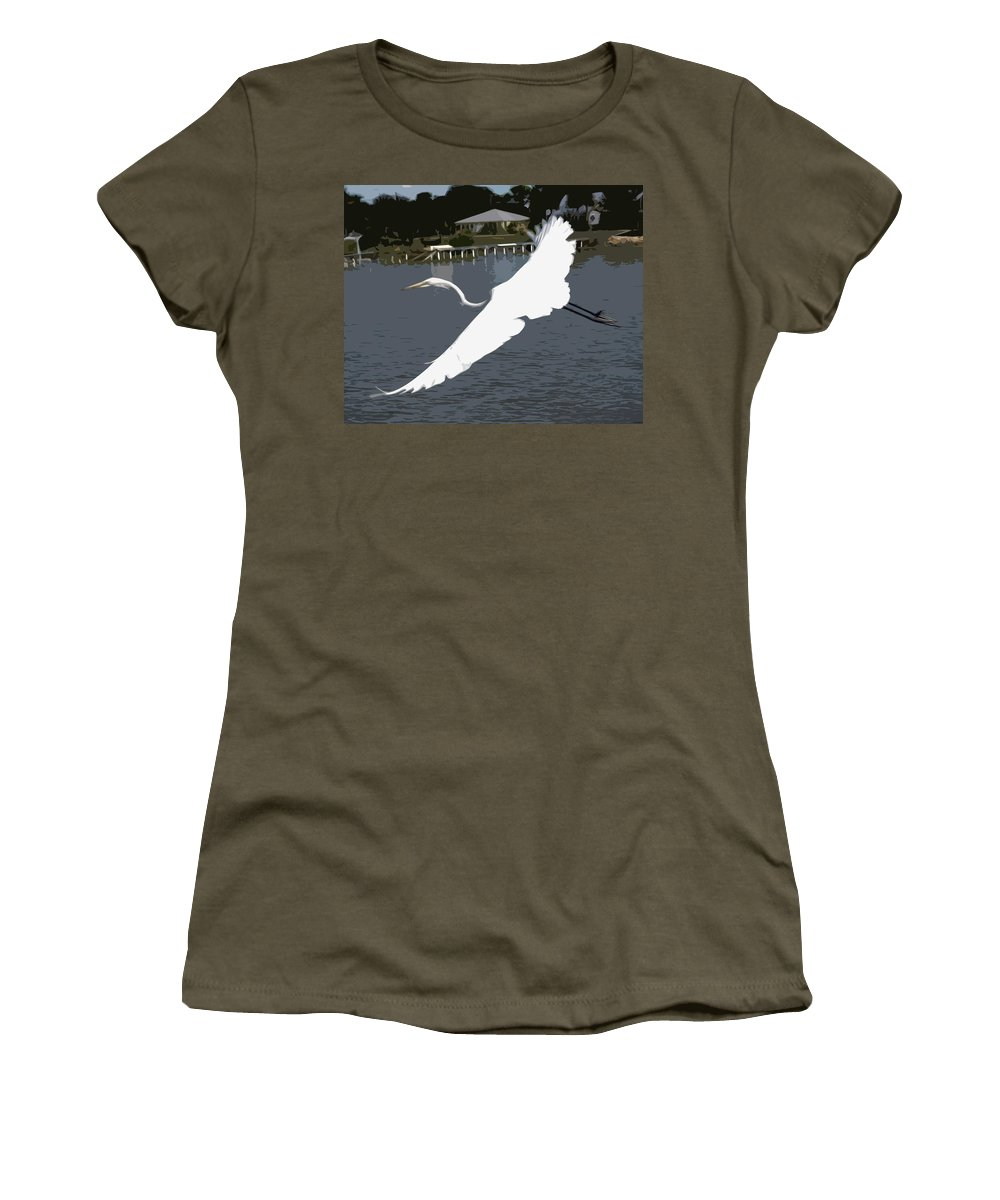 Great Women's T-Shirt featuring the painting Great Egret At Melbourne Beach by Allan Hughes