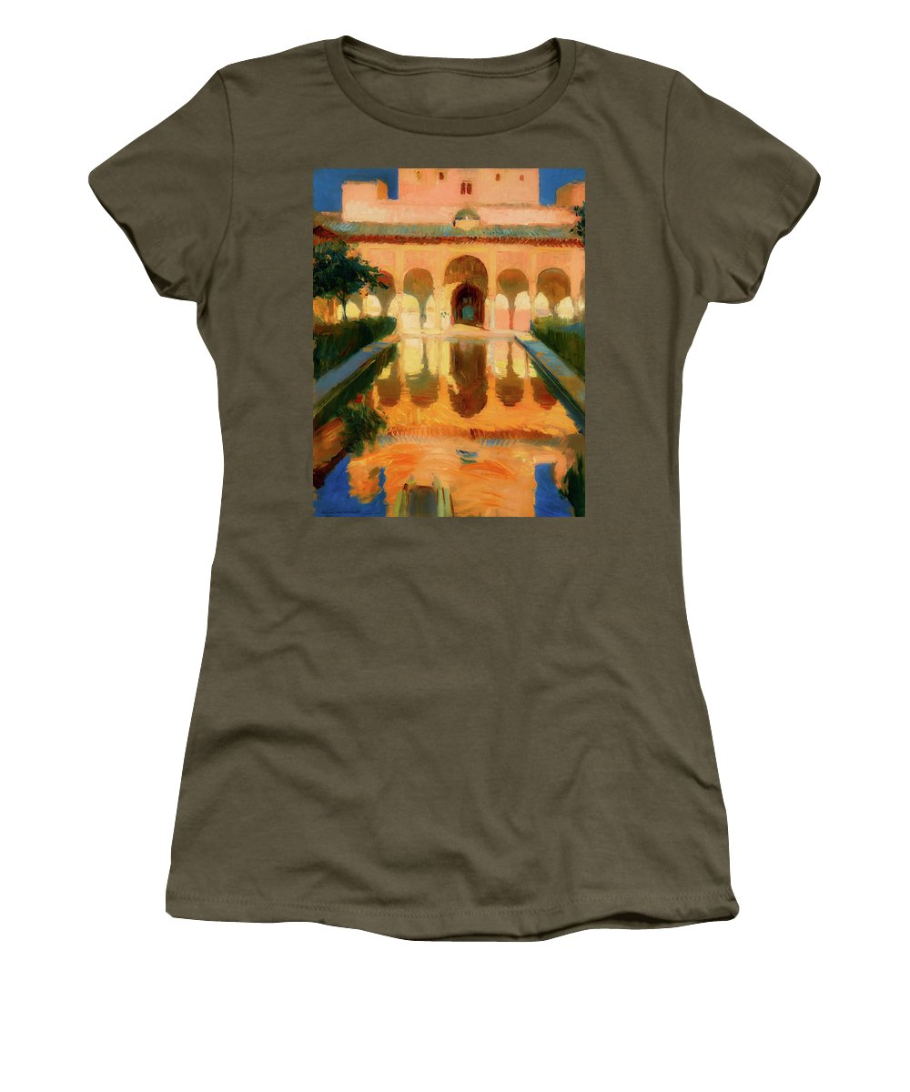 Painting Women's T-Shirt featuring the painting Hall Of The Ambassadors - Alhambra Granada by Mountain Dreams