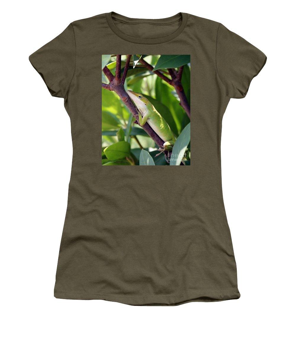 Photography Women's T-Shirt (Athletic Fit) featuring the photograph Hanging On by Shelley Jones