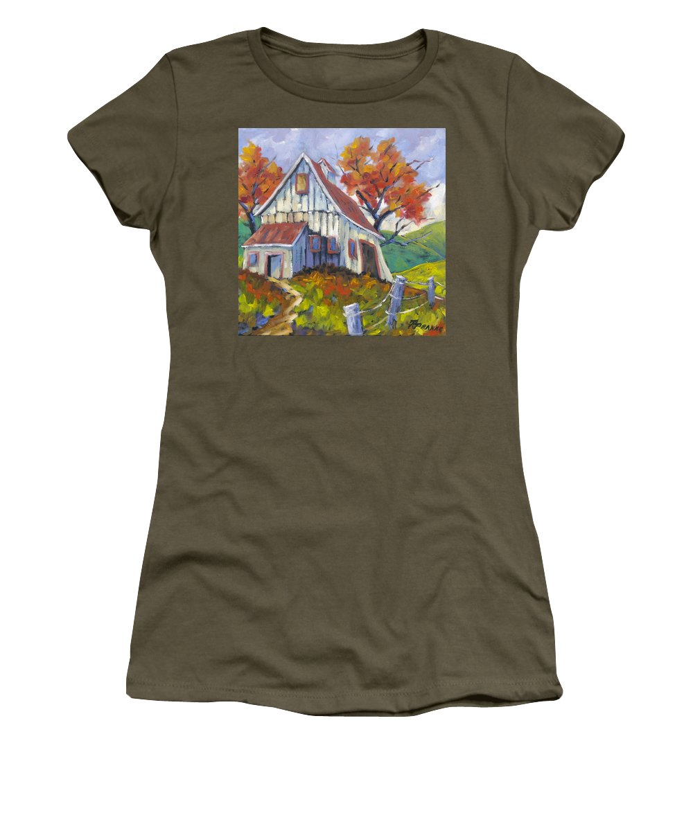 Hill Women's T-Shirt (Athletic Fit) featuring the painting Hillsidebarn by Richard T Pranke